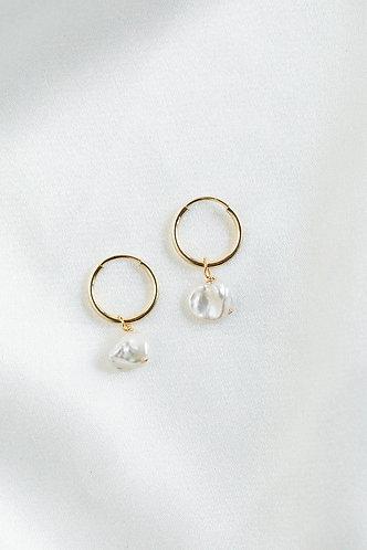 Rosemary Hoop Earrings w/ Fresh Water Pearls