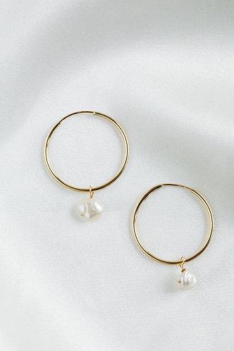 Lily Hoop Earrings w/ Fresh Water Pearls
