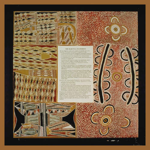 Barunga Statement, left side painted by Dula Ngurruwutthun
