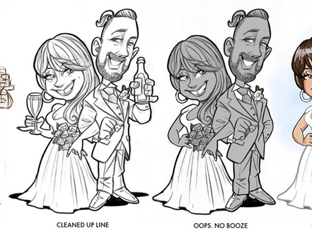 Step by step Wedding Caricature