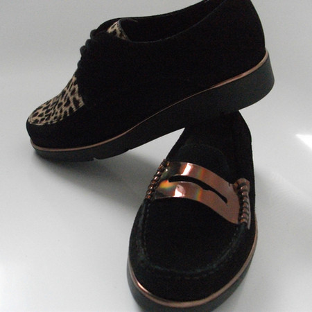 French made lace up and loafer in black nubuck £99