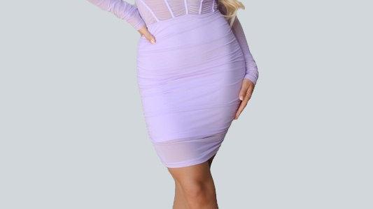 Long Sleeve Caged Dress