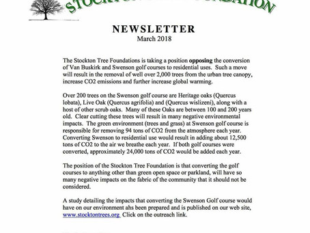 Stockton Tree Foundation Opposes sale of Swenson Property.