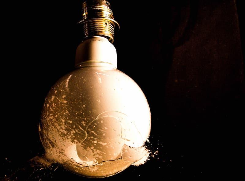 Lightbulb at the moment of breaking
