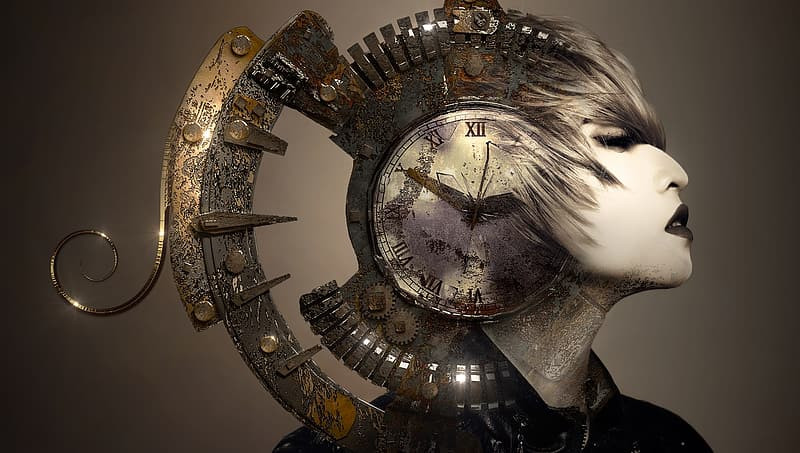A woman with a clock superimposed on her head like a Greek helmet.