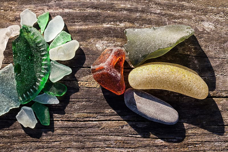 Pieces of sea glass arranged to look like a flower