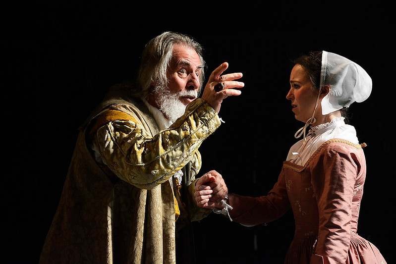 Lear gestures and Cordelia looks distressed. Copyright Nobby Clark