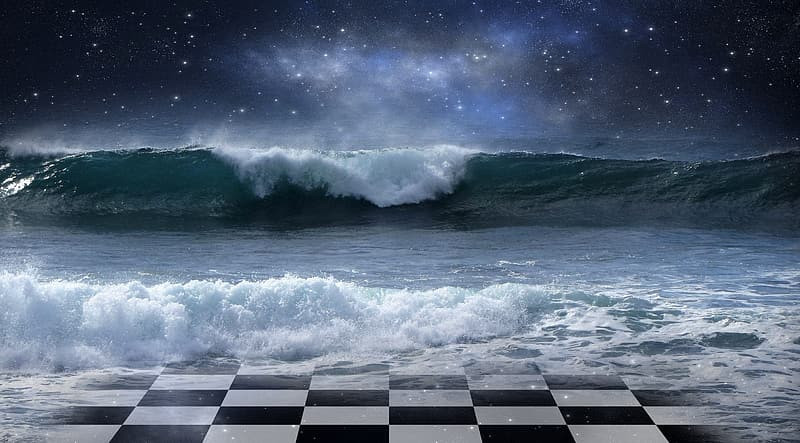 Waves breaking over a checkerboard.