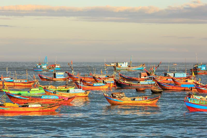 Colourful boats on the sea.
