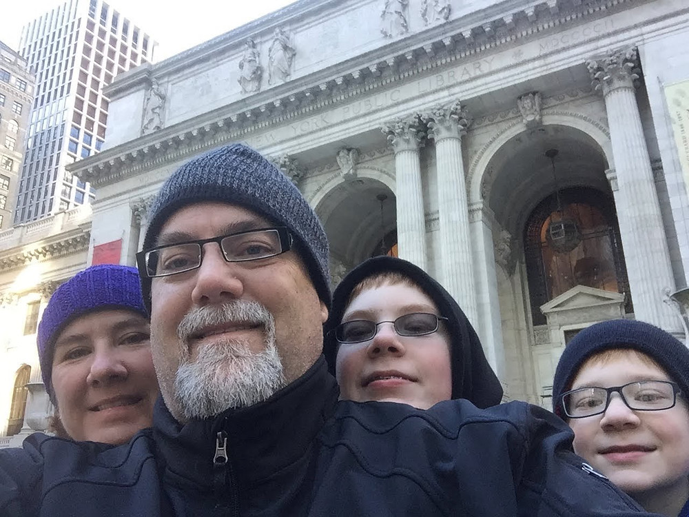 A photo of david brodosi and his family in New York City