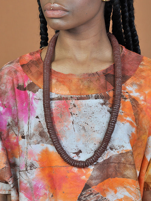Recycled glass brown necklace