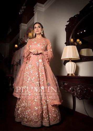 Rose Pink Organza Floor Length Gown