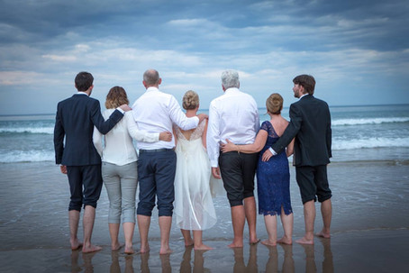 Family portrait - beach wedding