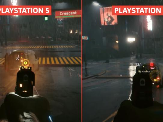 Cyberpunk 2077: comparação mostra diferença descomunal entre PS4 base e PS5