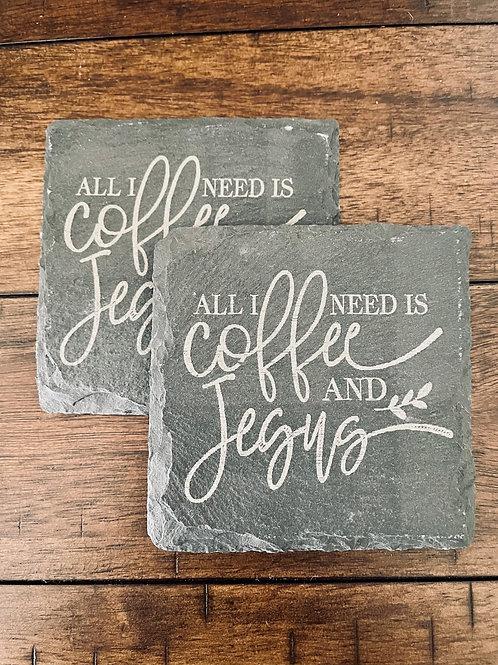 Coffee and Jesus Slate Coasters