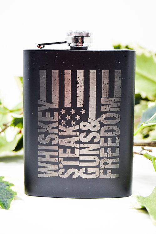 Whiskey Steak Guns & Freedom Flask