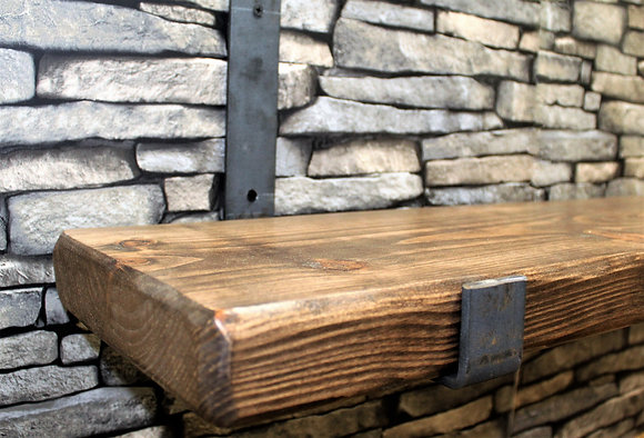 Plank shelf with steel brackets (also available without brackets)
