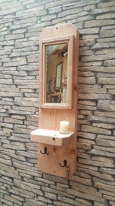 Hallway mirror with shelf and key hook