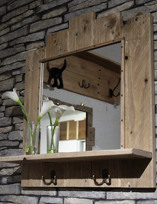 Rustic mirror with shelf and key hooks
