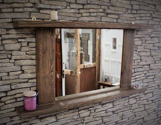 Rustic landscape mirror with shelves