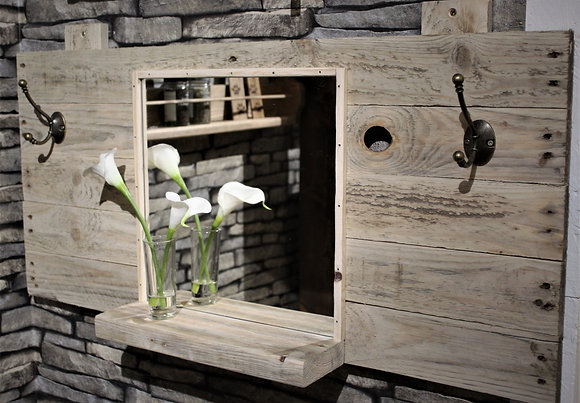 Rustic mirror and coat rack with shelf
