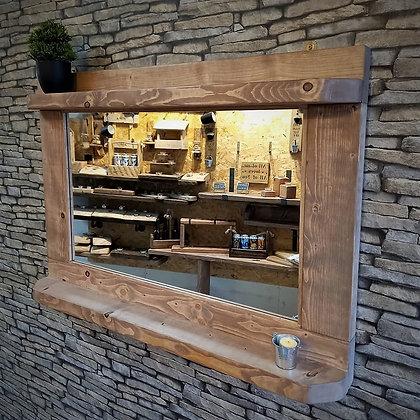 Rustic double shelf mirror    Code: 16/MX/C2