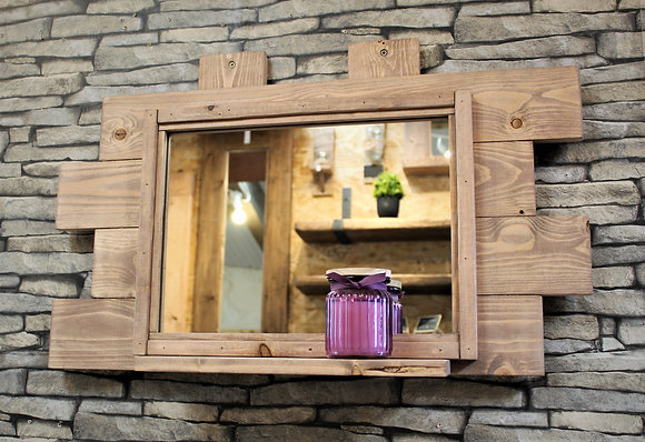 Quirky rustic mirror with shelf.  Code 25/MX/F3