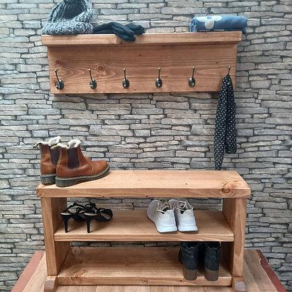 Rustic shoe bench with coat rack