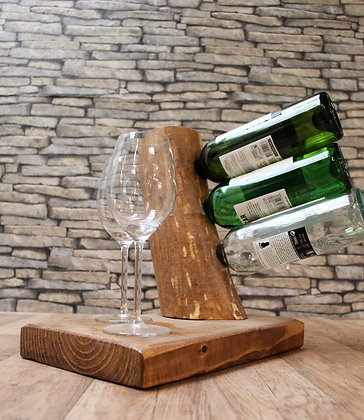 3 bottle Wine tree with base for glasses.