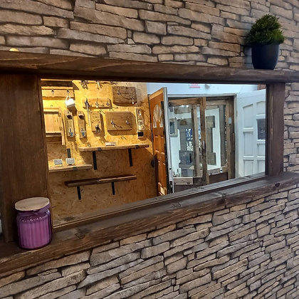 Rustic mirror with shelves