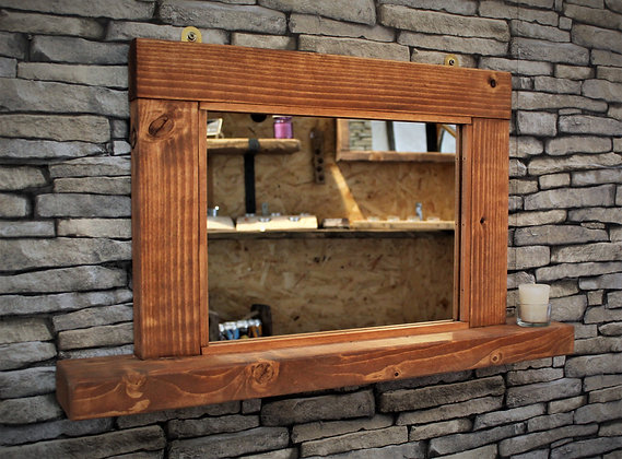 Rustic mirror with shelf.  Code 20/MX/H1