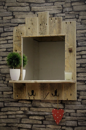 Reclaimed wood mirror with shelf and hooks