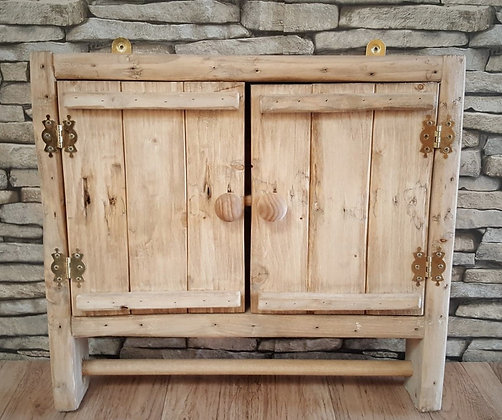 Rustic spice rack cupboard with towel rail