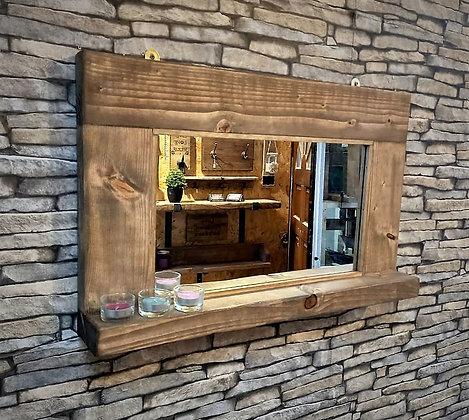 Rustic mirror with shelf   Code: 15/MX/W3