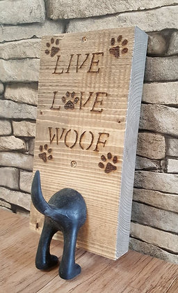 'LIVE LOVE WOOF' wall plaque with hook