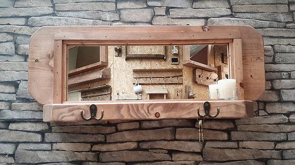 Small hallway mirror with shelf and key hooks