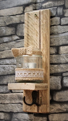 Small tealight/candle sconce with key hook