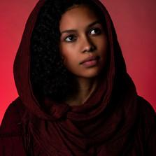 Muslim girl in red