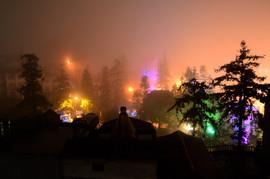 Mountain mist over Sapa at night