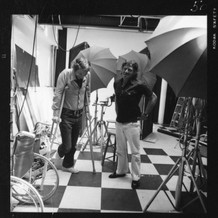 William Helburn and art director Gene Federico with model, c. 1970
