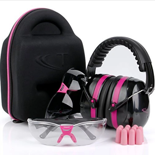 Tradesmart Safety Glasses & Ear Muff Combo w/ Carrying Case & Ear Plugs (Pink)