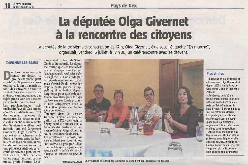 Article du Pays Gessien : La députée Olga Giverent à la rencontre des citoyens