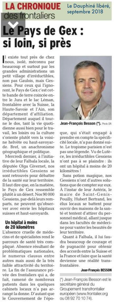 Article Dauphiné - Le Pays de Gex si loin, si près