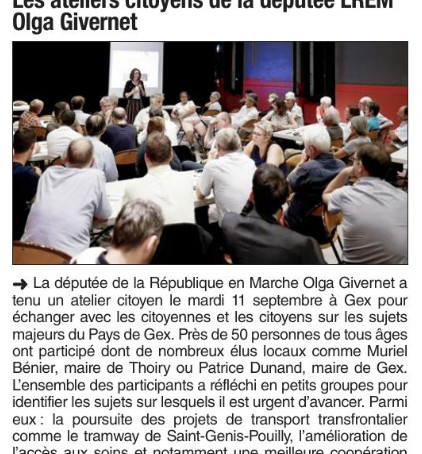 Le Dauphiné libéré : Les ateliers citoyens de la députée LREM Olga Givernet