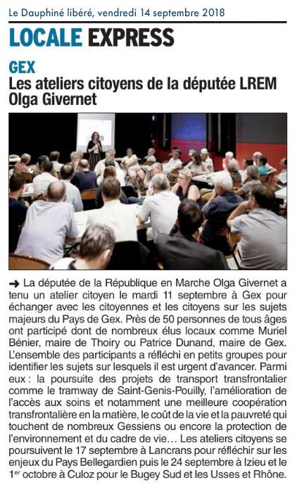 Article Dauphiné libéré - Ateliers citoyens