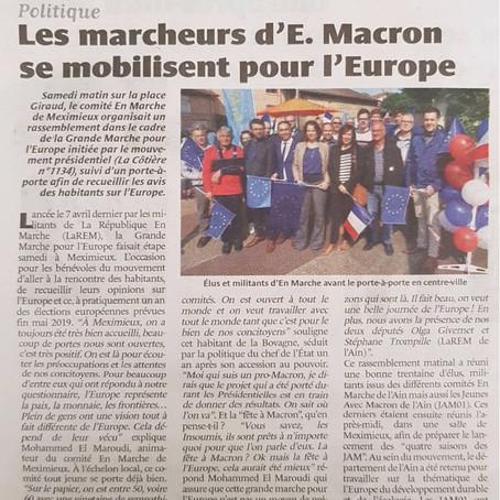 La Côtière : Les marcheurs d'E. Macron se mobilisent pour l'Europe
