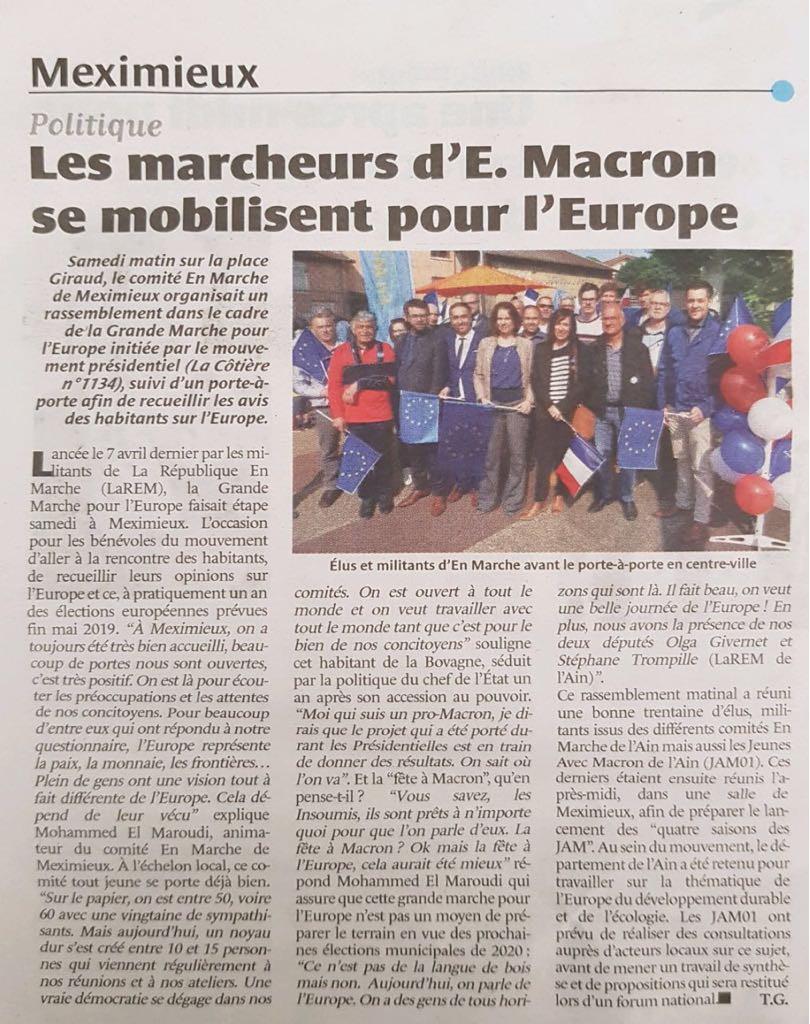 La Côtière - Les marcheurs d'E. Macron se mobilisent pour l'Europe