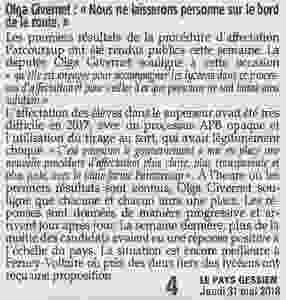 """Pays Gessien - Olga Givernet : """"Nous ne laisserons personne sur le bord de la route"""""""