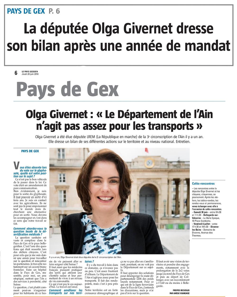 article Le Pays Gessien - Olga Givernet - 1 an de mandat