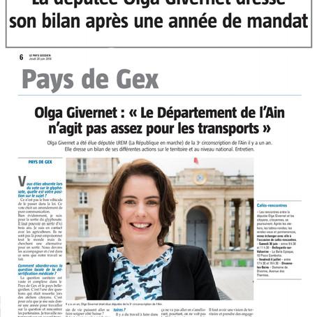 """Le Pays Gessien : Olga Givernet """"Le Département de l'Ain n'agit pas assez pour les tran"""